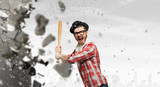 Hipster guy with bat . Mixed media