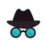 spy thief crime glasses hat mysterious cyber security vector illustration