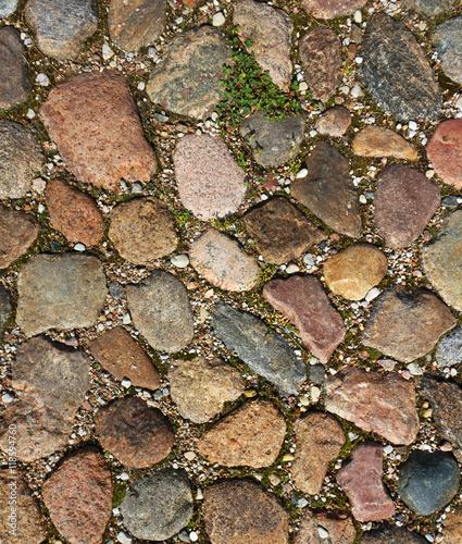 Cobbled pavement background.