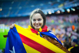Excited girl with Catalonia flag