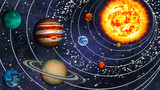 Solar System 8 planets in their orbits, widescreen