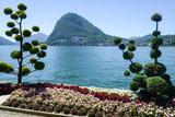 Lugano, Switzerland - View of the bay and mount Salvatore