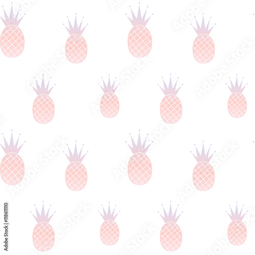 pink blue pastel watercolor pineapple seamless pattern background illustration- 118611110