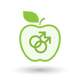 Isolated  line art apple icon with a gay sign