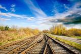 Urlaub, Tourismus, Geschäftsreisen: Staufrei zum Ziel: Bahngleise im freien Feld :) - 118619710