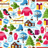 Seamless pattern with winter objects. Merry Christmas, Happy New Year holiday items and symbols