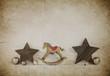Rustikale alte Dekoration zu Weihnachten auf Holz Hintergrund im vintage style.