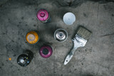 Street art equipment, spray cans and brush  - 118636708
