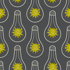 Seamless pattern with lamps and light