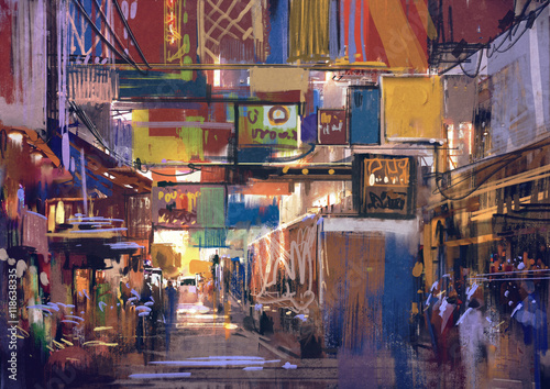 digital painting of colorful street market,illustration