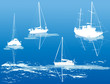 Detaily fotografie four ship silhouettes on blue background