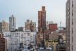 New York City rooftop skyline at dusk.