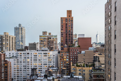 Foto op Aluminium New York New York City rooftop skyline at dusk.
