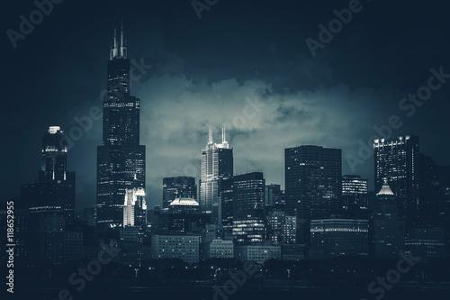Poster Chicago Chicago City Skyline Dark Blue