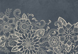 hand drawn flower design sketch in white ink on black background, elegant vintage style fancy floral doodle pattern