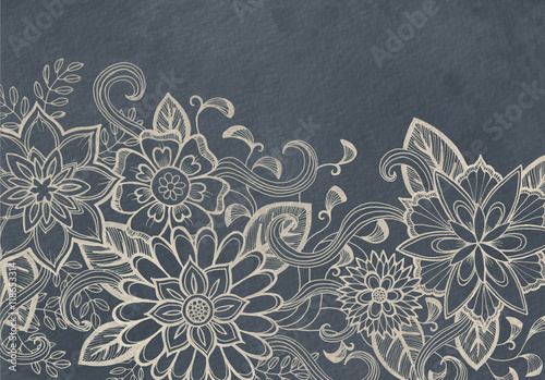 hand drawn flower design sketch in white ink on black background, elegant vintage style fancy floral doodle pattern - 118653314