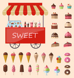 Delicious sweets and ice cream icons set