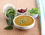 Indian food curry leaves chutney, which is a healthy, vegetarian, traditional and popular side dish for items like chapati, dosa and rice. - 118664564