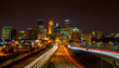 Light  streaks under the Minneapolis skyline