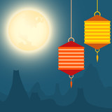 Full moon and lanterns festival background