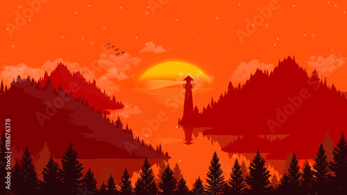Fotobehang Rood Flat landscape Sunset and islands