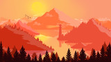 Flat landscape Sunset and islands