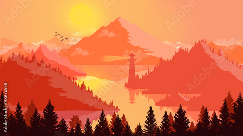 Aluminium Rood Flat landscape Sunset and islands