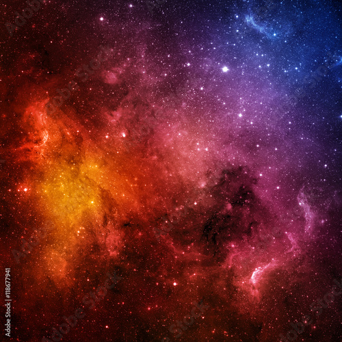 Poster Universe filled with stars, nebula and galaxy