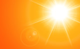 Sun with lens flare, orange vector background. - 118679504