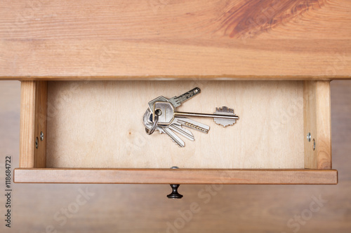 Poster bunch of door keys on ring in open drawer