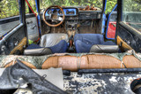 interior of the old , broken car in the extended Dynamic Range