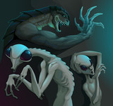 Three types of aliens: reptilian, grey and insectoid