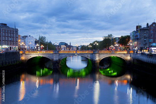O'Connell Bridge in Dublin, Ireland down by the Liffey River at sunset Poster