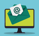 envelope computer email marketing send icon. Colorful and flat design. Vector illustration