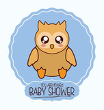 owl cute animal cartoon baby shower card icon. Colorful and flat design. Vector illustration