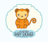 monkey cute animal cartoon baby shower card icon. Colorful and flat design. Vector illustration