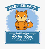 fox cute animal cartoon baby shower card icon. Colorful and flat design. Vector illustration