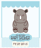 Rhyno cute animal cartoon baby shower card icon. Colorful and flat design. Vector illustration