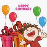 kid boy gift balloons cartoon scream celebration happy birthday icon. Colorful design. Vector illustration