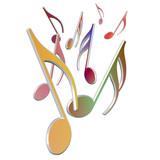 Bunte Musiknoten, Noten, Musicnotes