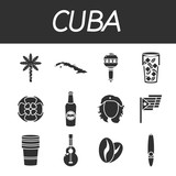 Cuba icons set