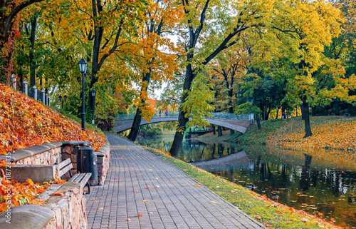 Foto op Canvas Texas Autumn in central park in Riga that is the capital city of Latvia and widely known as a famous tourist place in Baltic region