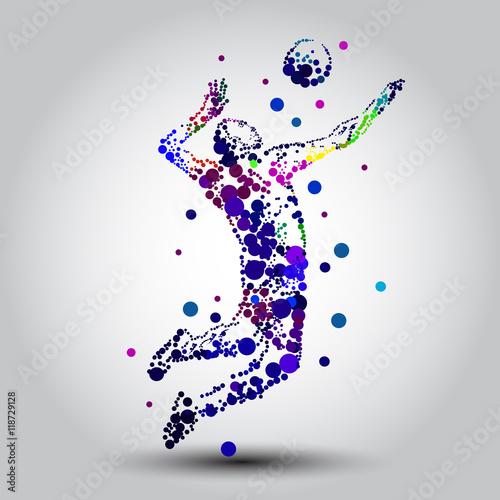 Fototapeta Illustration of abstract volleyball player