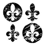 Set of painted Fleur-de-lis