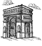 Sketch Triumphal Arch in Paris, France. Vector illustration