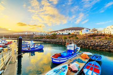 Sunset over a port in Gran Tarajal, Fuerteventura, Canary islands