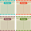 Four recipe cards in different colors. Ready to fill up.