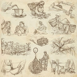Tea Processing. Agriculture. An hand drawn illustration. - 118760576