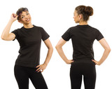 Slim woman wearing blank black shirt