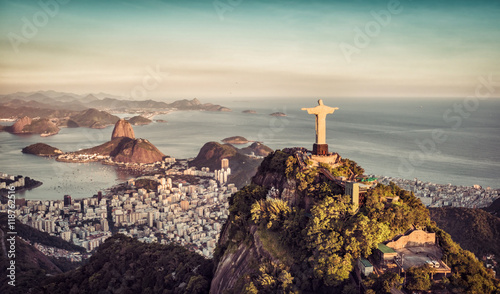 Aerial panorama of Botafogo Bay and Sugar Loaf Mountain, Rio De